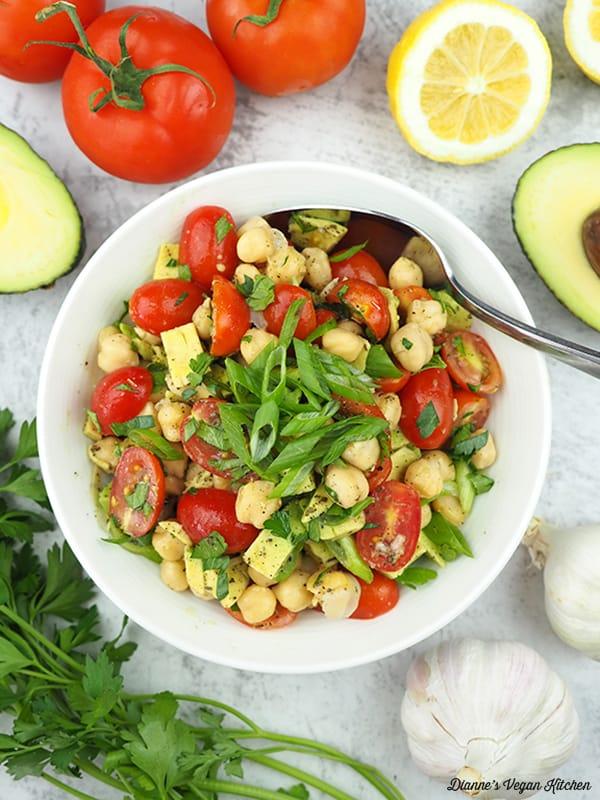 Vegan Avocado Chickpea Salad overhead with spoon