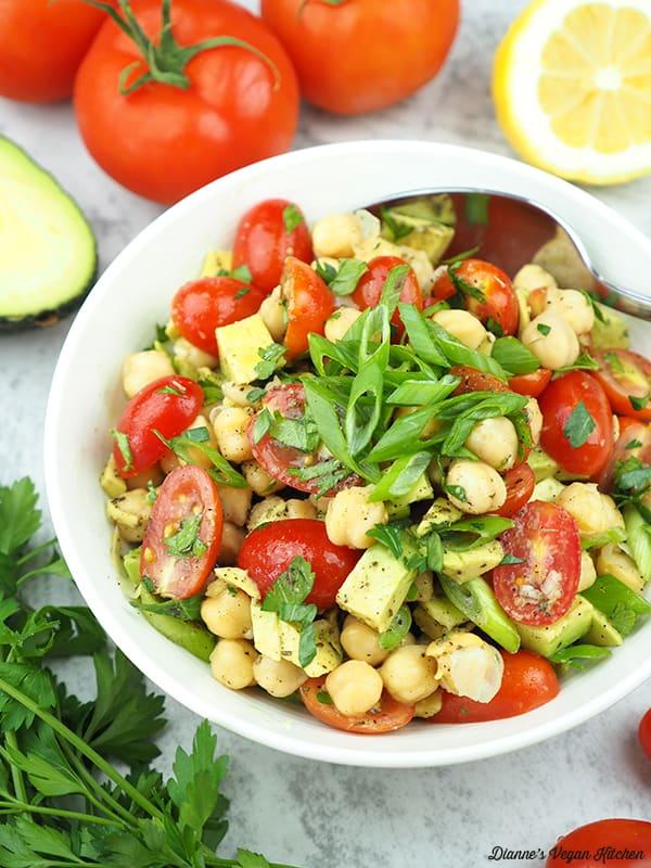 close up of Vegan Avocado Chickpea Salad
