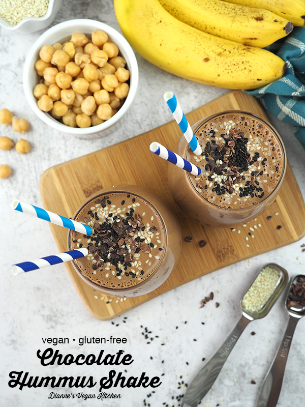Chocolate Hummus Shake from above with text overlay