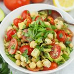 Vegan Avocado Chickpea Salad with text overlay