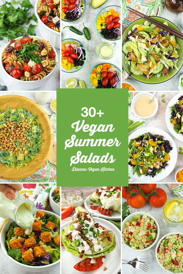 30+ Best Vegan Summer Salads collage with text overlay