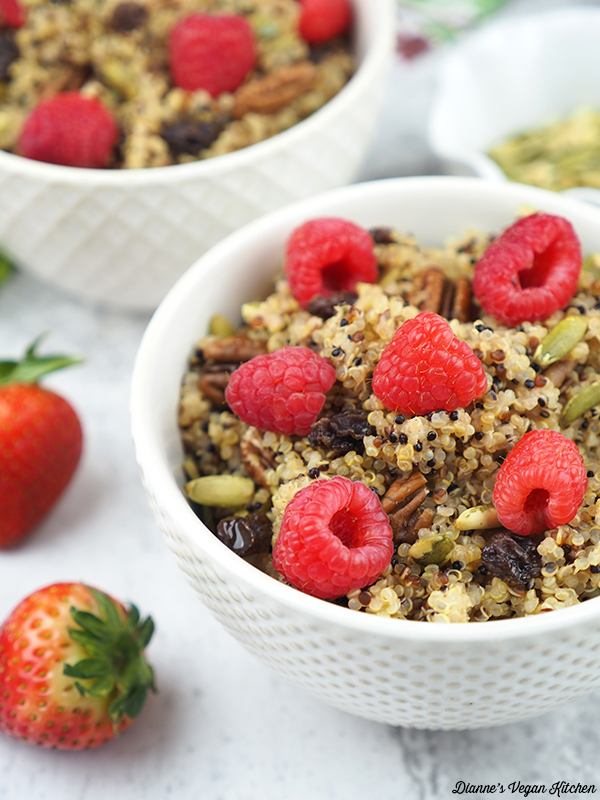 close up of quinoa breakfast bowl