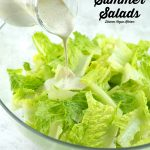 pouring dressing on a salad with vegan summer salad text overlay