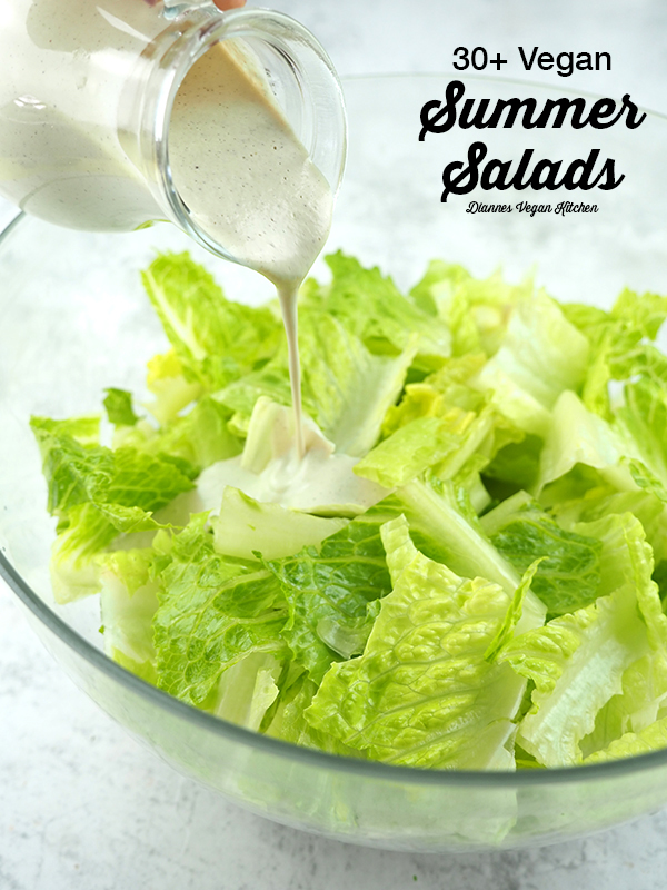 Pouring dressing on a salad with Vegan Summer Salads text overlay