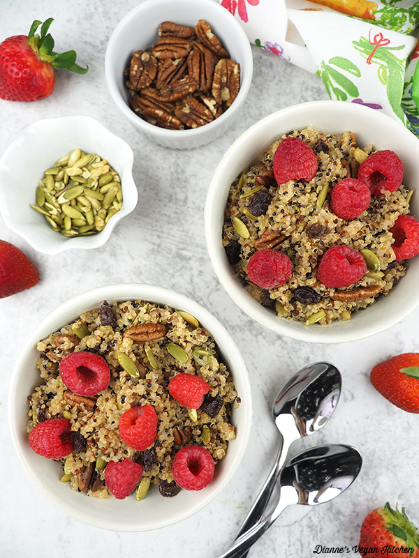 two quinoa breakfast bowls from above