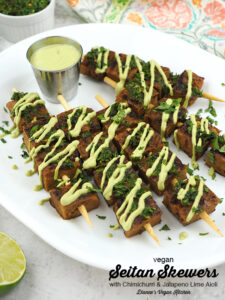 platter with Seitan Skewers and text overlay