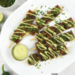 Seitan Skewers with text overlay