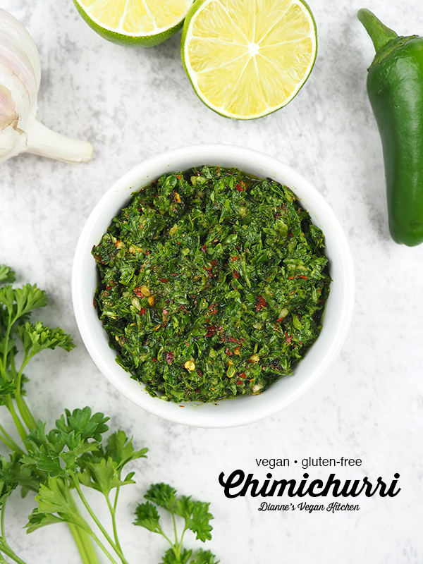Chimichurri Sauce with limes, parsley, garlic, and jalapeños with text overlay
