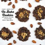 Vegan No Bake Cookies on baking sheet with text overlay
