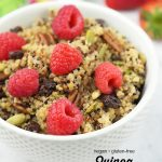 Fruit and Nut Quinoa Breakfast Bowl with text overlay