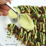 Jalapeno Lime Aioli with seitan skewers with text overlay