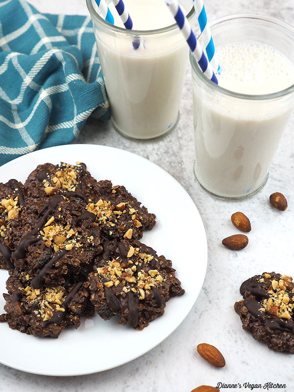 plate of Vegan No Bake Cookies with almond milk