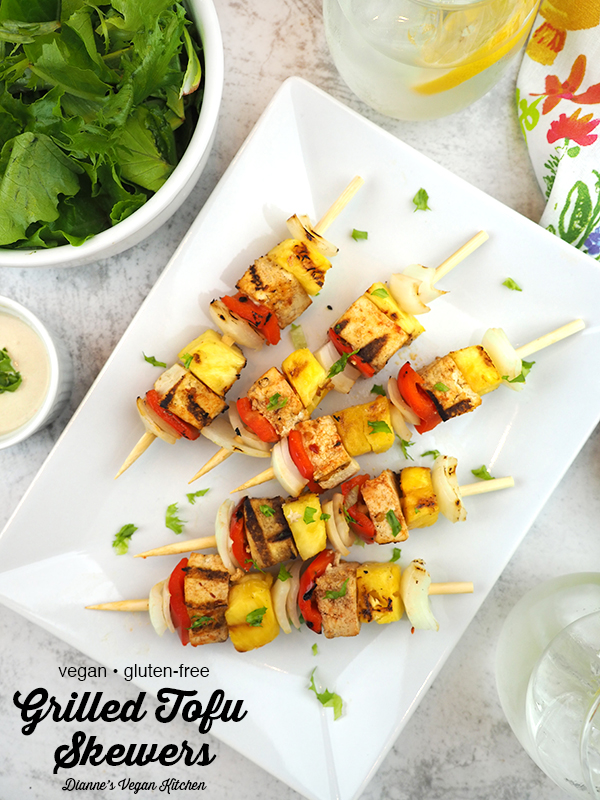 Grilled Tofu Skewers on plate with text overlay
