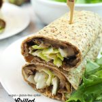 stack of Grilled Eggplant Wraps with text overlay