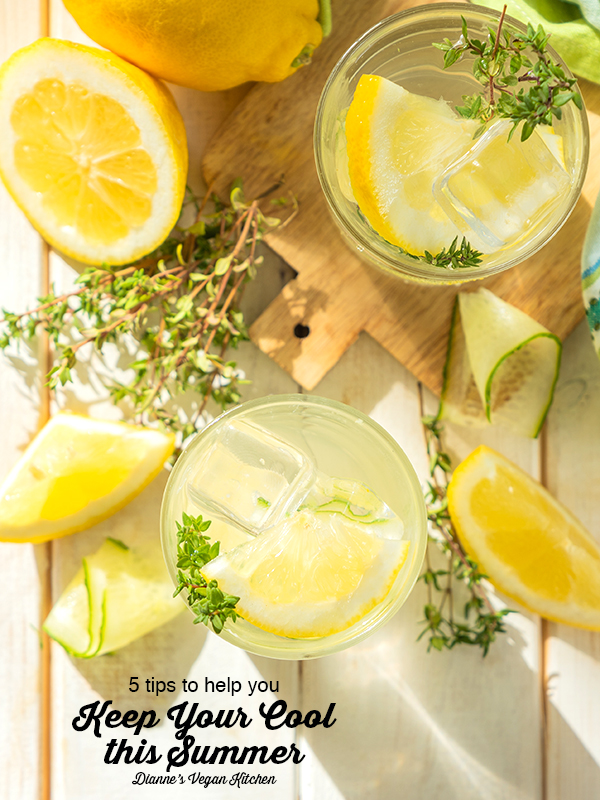 keep our cool text overlay with lemon water