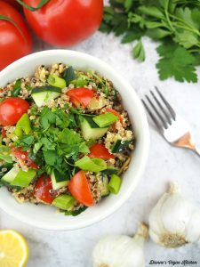 Quinoa salad in bowl from above