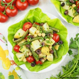 vegan potato salad with tomatoes square
