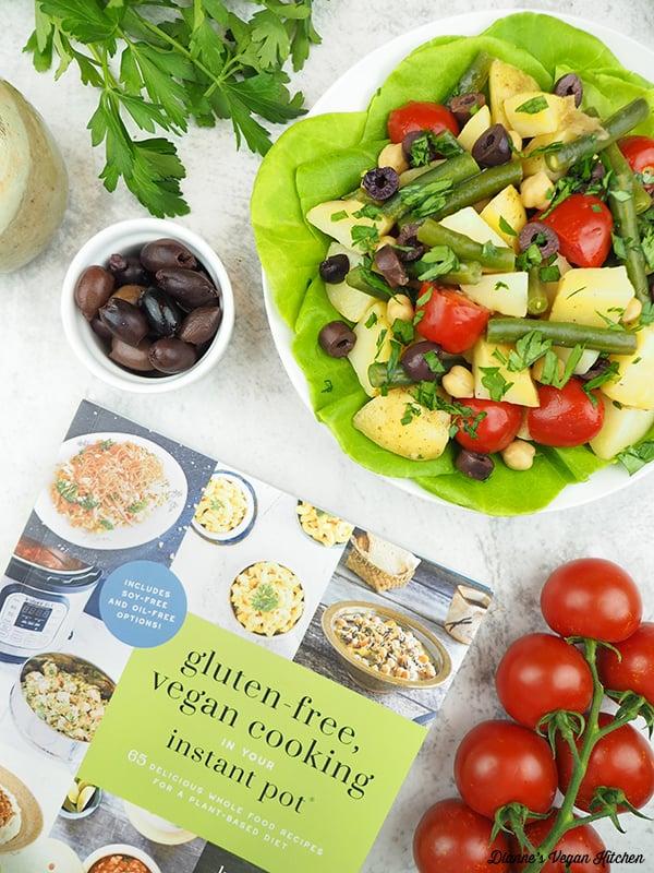 vegan tomato salad with cookbook