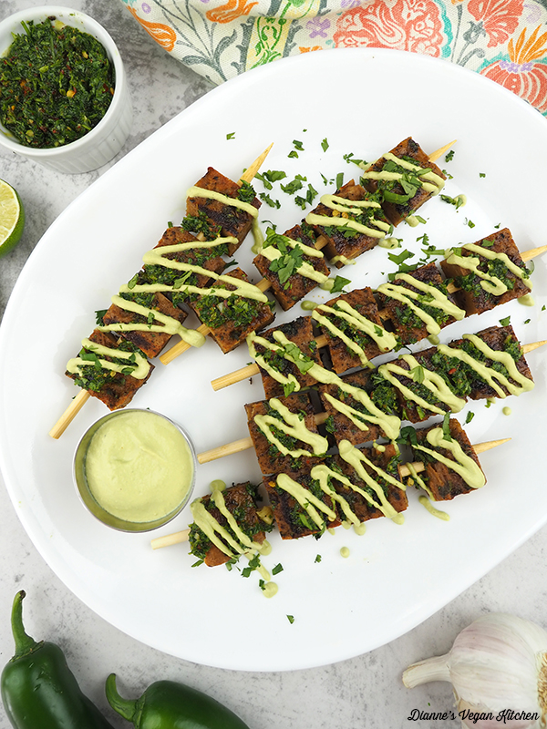 Seitan Skewers on platter