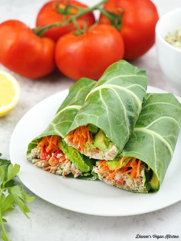stack of collard green tuna wraps on plate