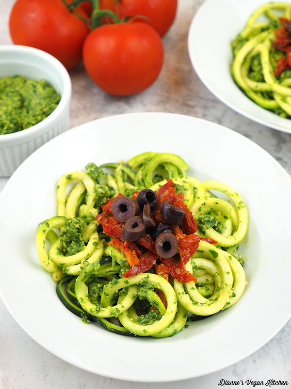 close up of zucchini noodles