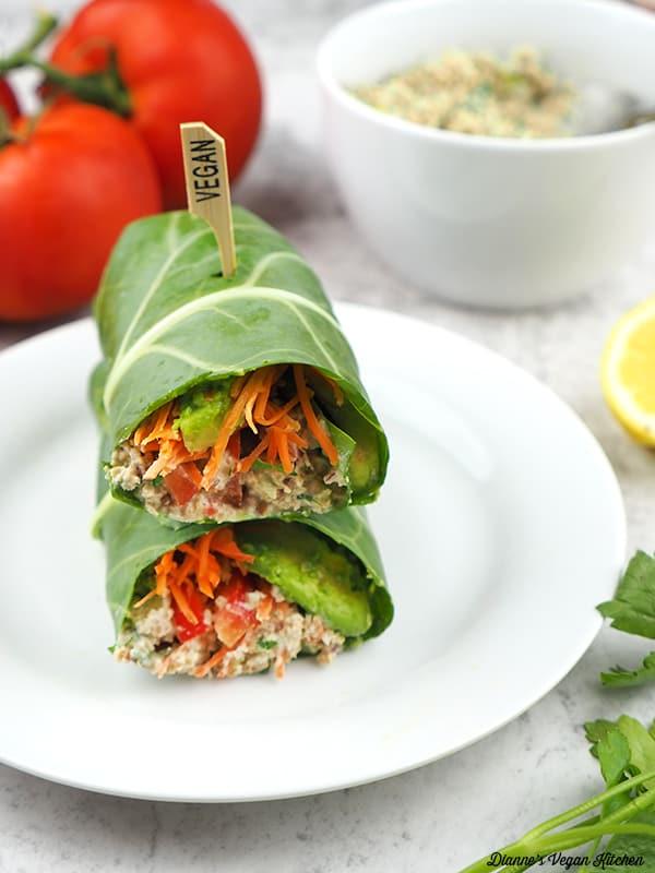 stack of stack of vegan tuna collard wraps