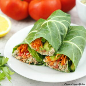 stack of vegan tuna collard wraps with tomatoes, lemon, and parsley square