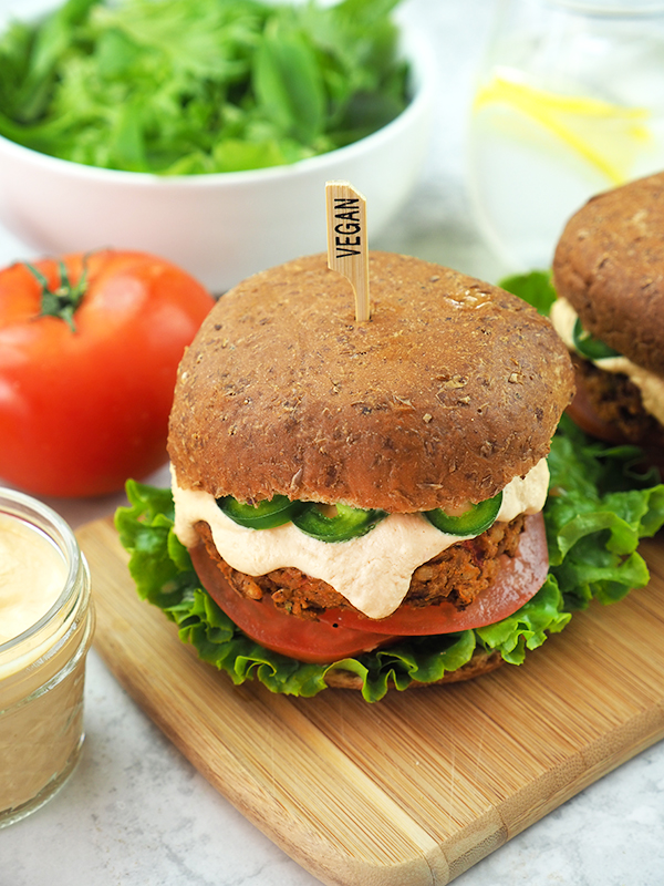 Chipotle Lentil Burgers with salad