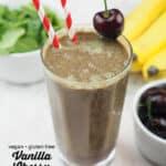 Vegan Vanilla Cherry Smoothie with text overlay