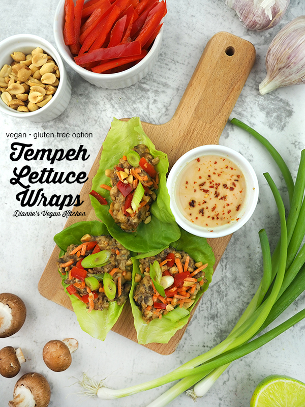 Vegan Lettuce Wraps on cutting board with text overlay