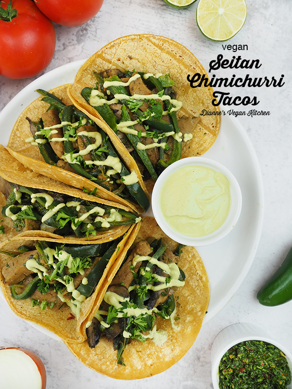Seitan Chimichurri Tacos on plate with text overlay