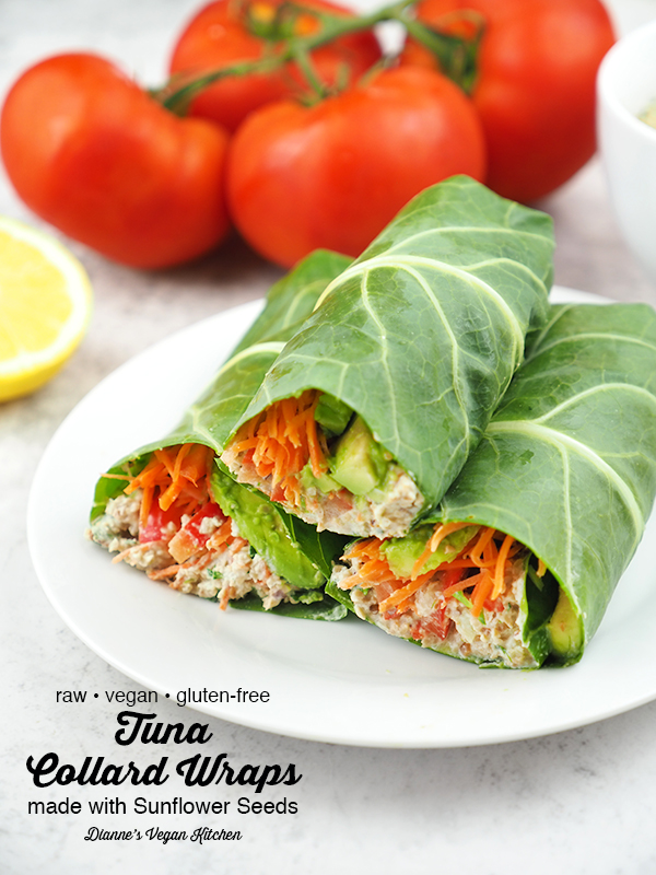 stack of vegan tuna collard wraps with text overlay