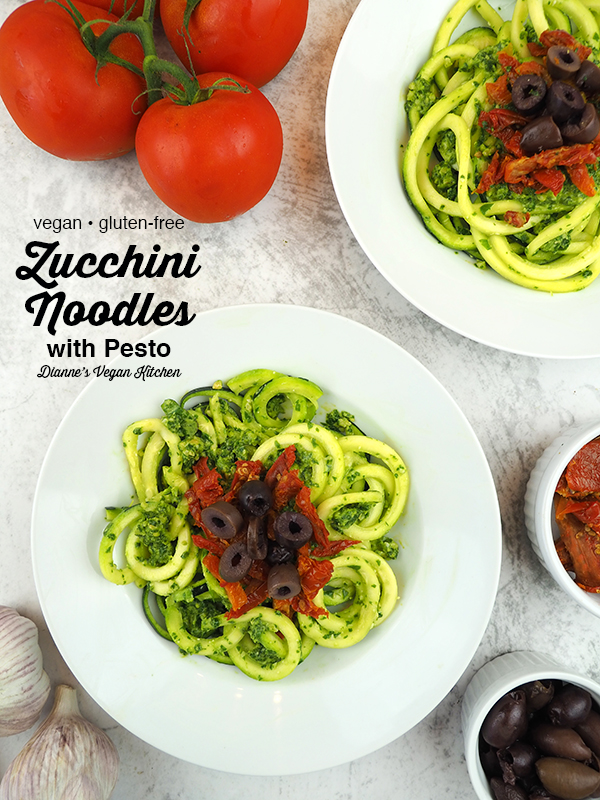 zucchini noodles, two bowls overhead with text overlay