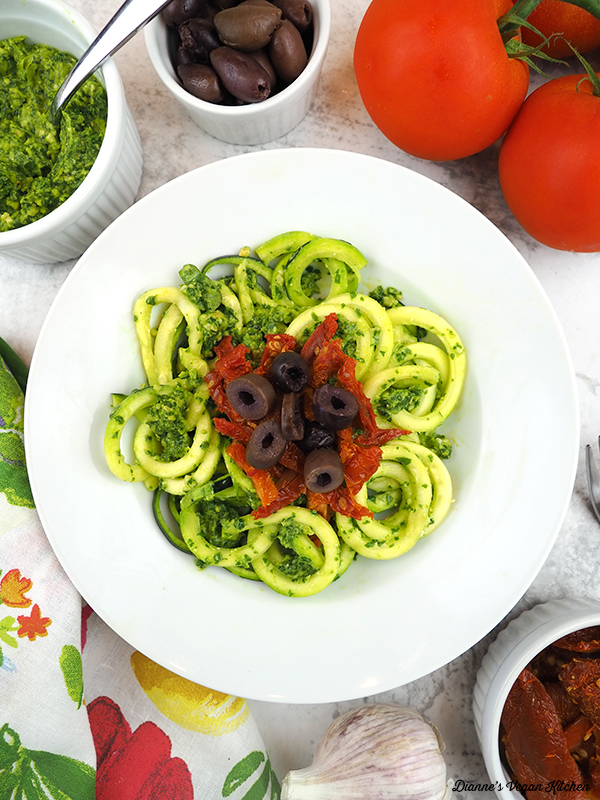 bowl of zucchini noodles overhead