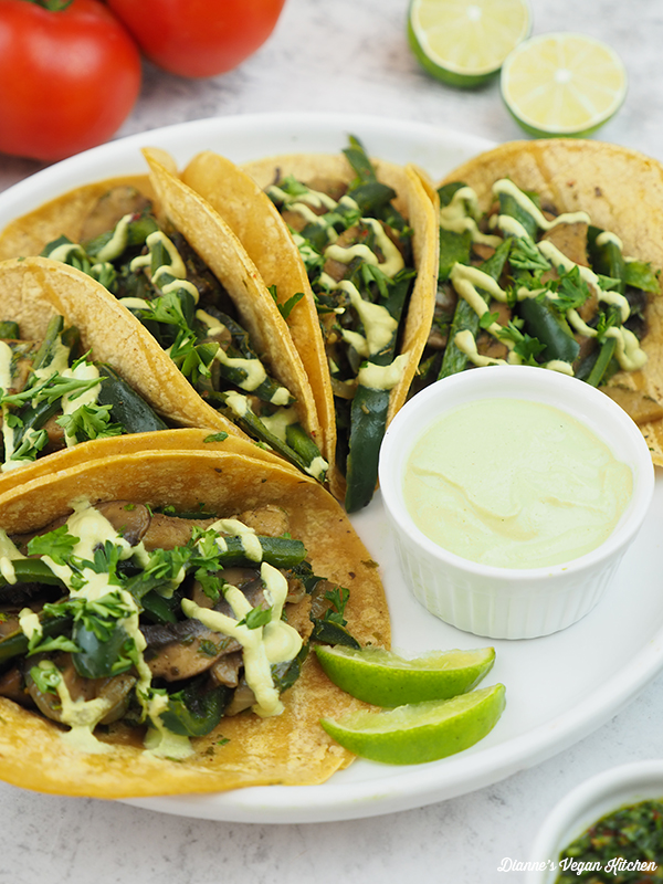 Seitan Chimichurri Tacos on plate with jalapeño lime sauce