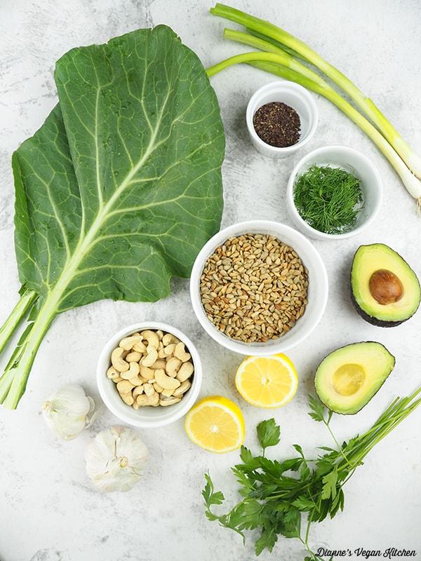 collard greens, sunflower seeds, cashews, avocado, scallions, dill, lemon, garlic, and parsley