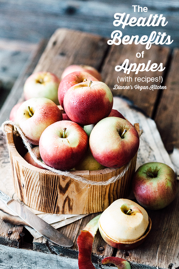 health benefits of apples - apples in bucket with text overlay