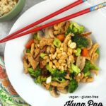 One Bowl of Vegan Kung Pao Soy Curls with text overlay