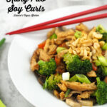 Close Up of Vegan Kung Pao Soy Curls with text overlay