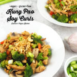 Two Bowls of Vegan Kung Pao Soy Curls with text overlay