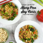 Two Bowls of Vegan Kung Pao Soy Curls overhead with text overlay