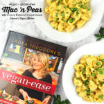 mac and peas with Vegan Ease book and text overlay