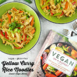 two bowls of curry noodles with cook book and text overlay