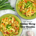 two bowls of Yellow Curry Rice Noodles with text overlay