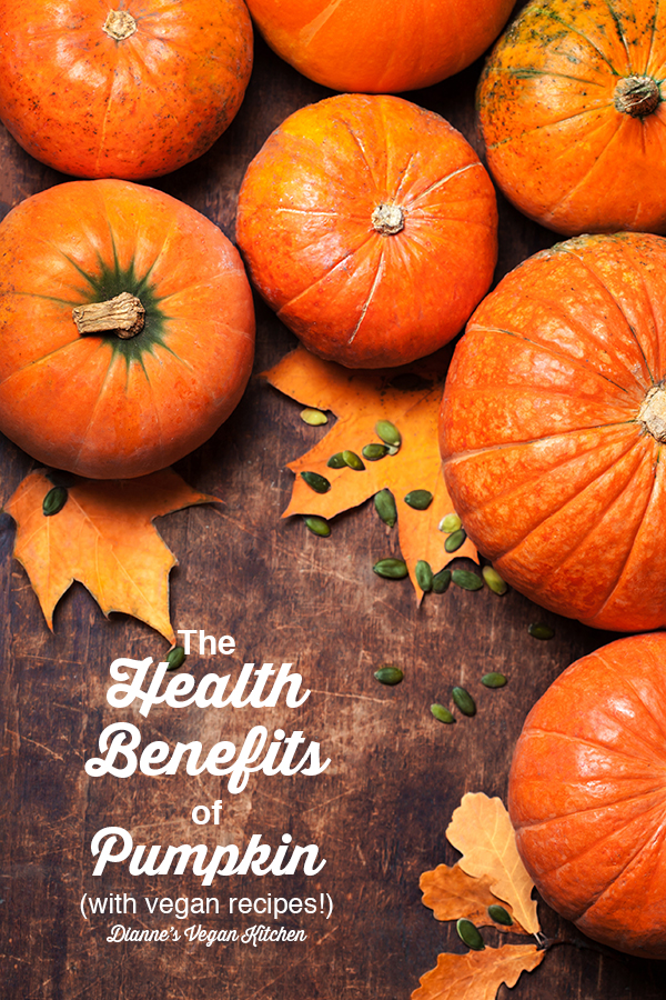 Health Benefits of Pumpkin + Vegan Recipes! - pumpkins with text overlay