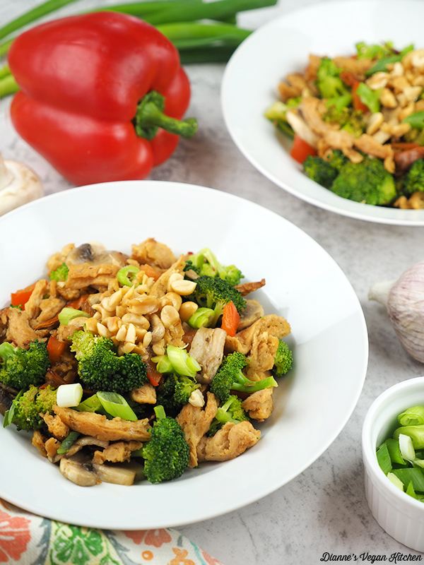 two bowls of Vegan Kung Pao Soy Curls