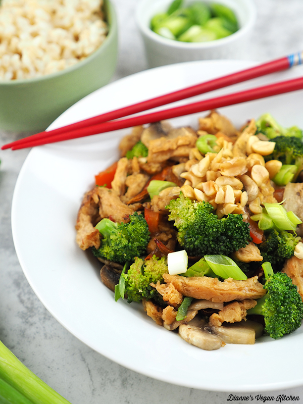 Close up of Vegan Kung Pao Soy Curls