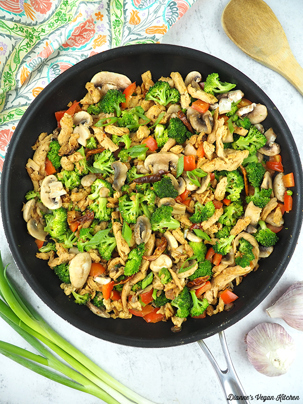 pan with vegetables and soy curls