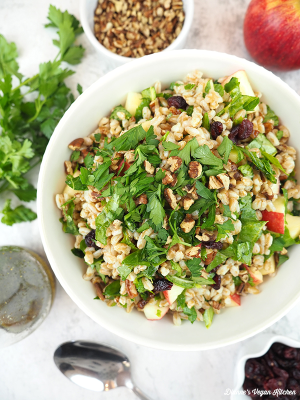 large bowl of farro salad overhead