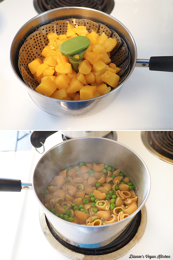 steaming squash and boiling pasta